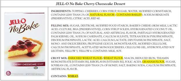 Jell-O No bake Gluten Containing Product