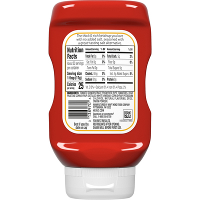 Heinz No Salt Added Inverted Bottle Tomato Ketchup, 14 oz Bottle
