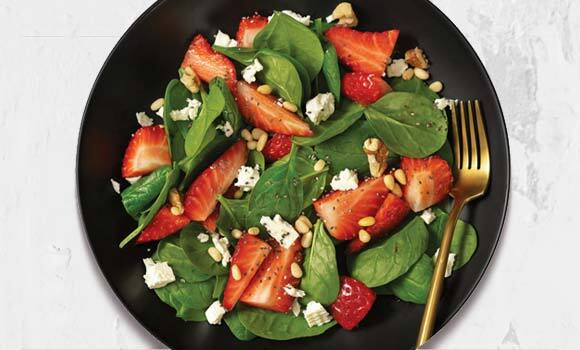 Strawberry-Feta Spinach Salad with Pine Nuts