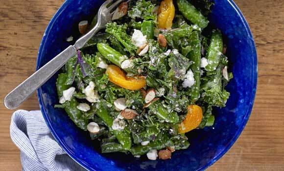 Kale and Sugar Snap Peas with Apricots and Feta Cheese