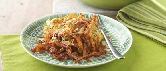Corn Tortilla Red Chilaquiles with Chicken