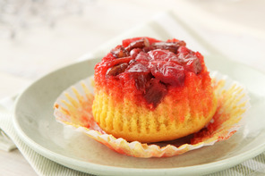 Strawberry-Rhubarb Upside-Down Cupcakes