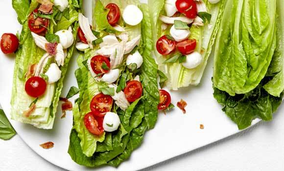 Chicken Caprese Wedge Salad with Bacon