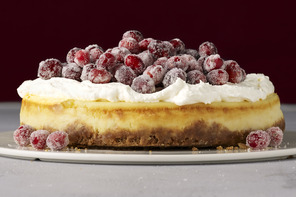 White Chocolate Mousse Cheesecake with Sugared Cranberries