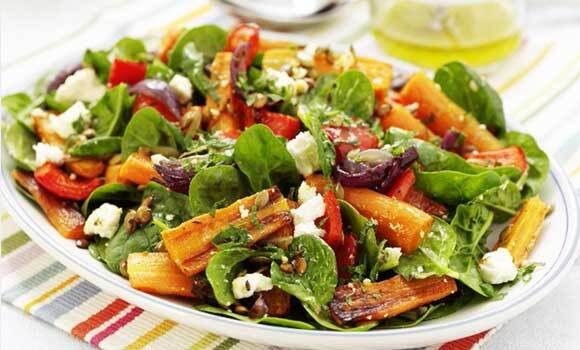 Roasted Beet, Carrot and Spinach Salad