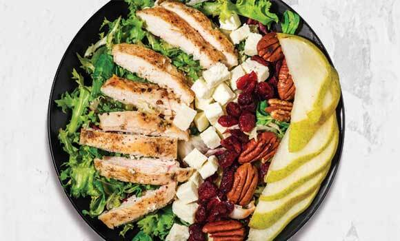Chicken-Feta-Pear with Frisee Lettuce