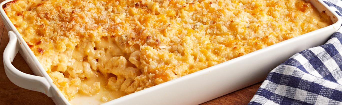 Baked Elbow Macaroni and Cheese.