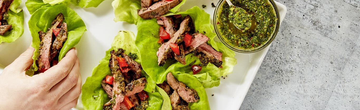Steak Lettuce Cups with Chimichurri