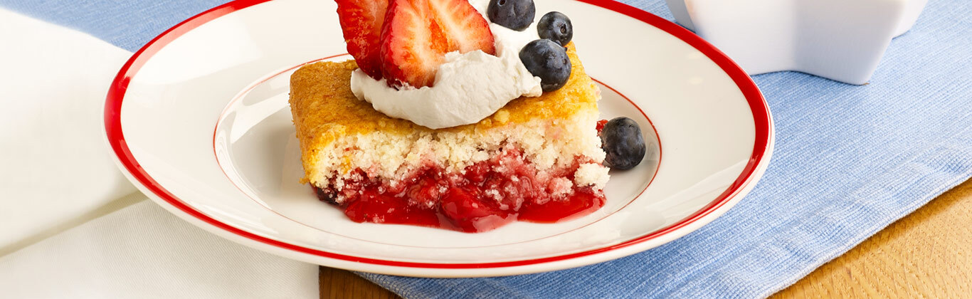 Red, White and Blue Berry Dump Cake