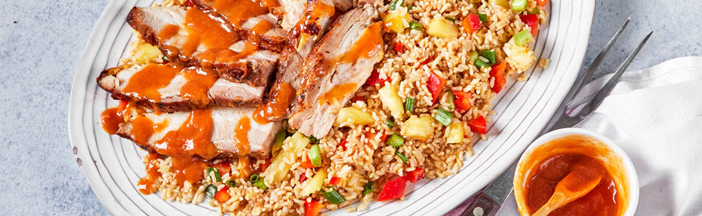 Hawaiian-Style Pork Belly with Pineapple Rice
