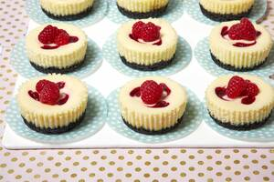Mini White Chocolate-Raspberry Cheesecakes